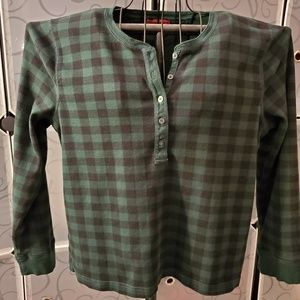 Chaps green and black plaid Henley